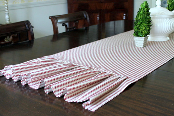 Red Ticking Table Runner 20 x 76 Ruffled Ends