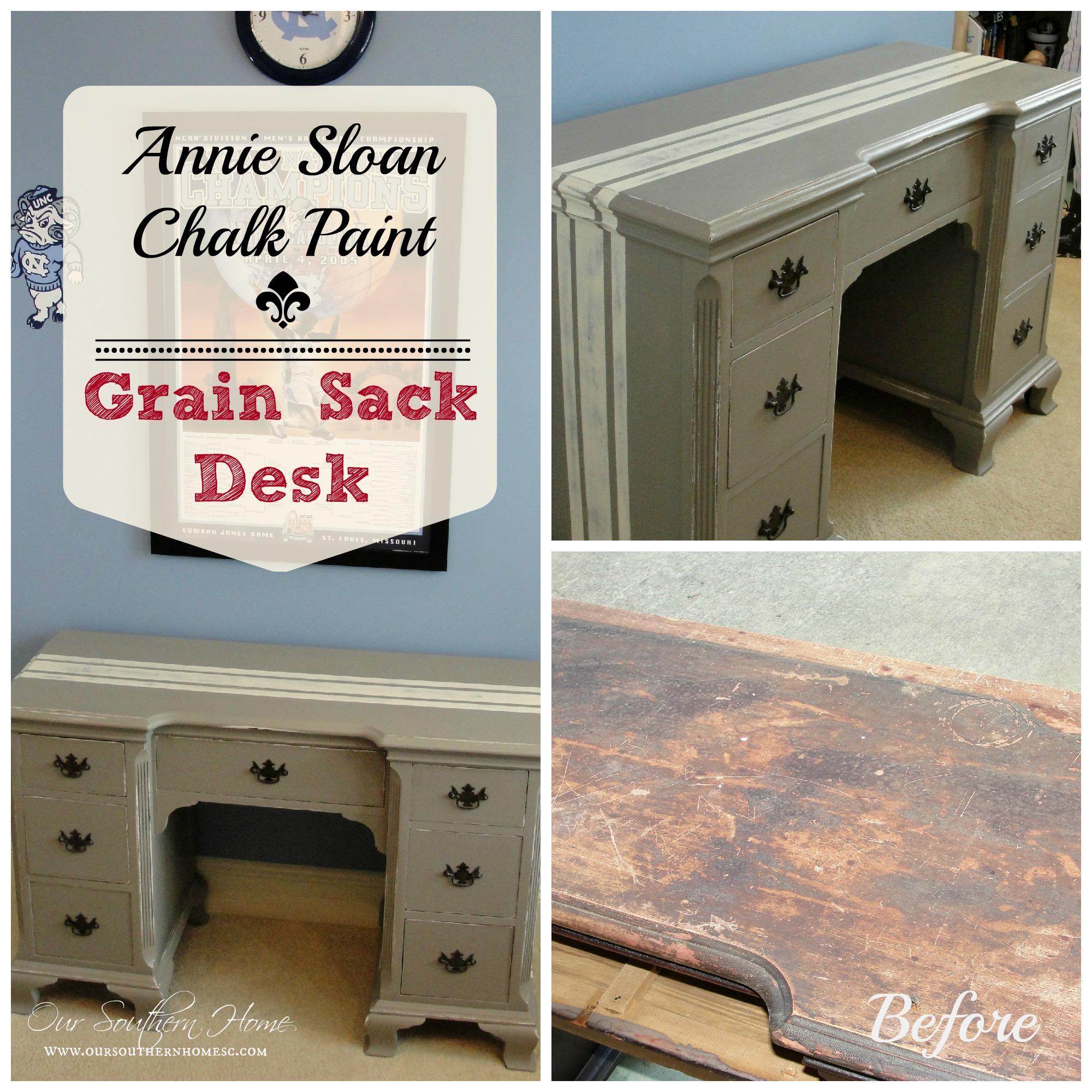 . Grain Sack Desk  Annie Sloan Chalk Paint    Our Southern Home