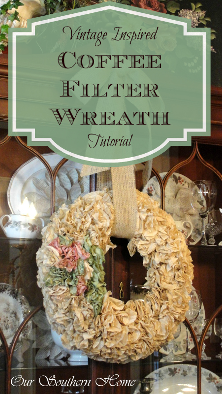 Coffee Filter Wreath Tutorial from Our Southern Home #coffeefilterwreath #coffeefiltercrafts