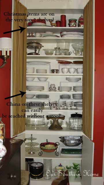 Organizing Dining Room cabinets from Our Southern Home