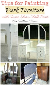 Tips for painting dark furniture with chalky paint finishes via Our Southern Home
