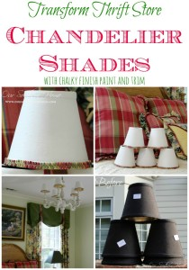 Transform thrift store chandelier shades with chalky finish paint and trim via Our Southern Home #thriftbenefit