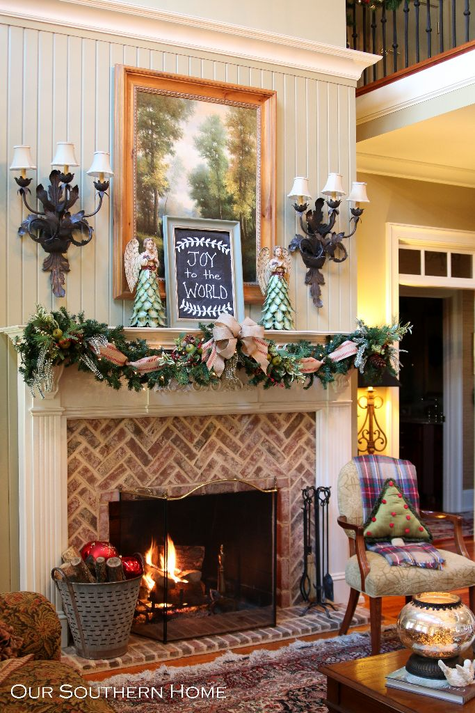 Southern christmas home tour part 1 our southern home for French country fireplace