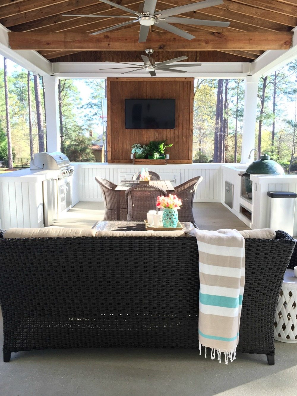 Back Porch Outdoor Kitchen At Refresh Restyle Our Southern Home