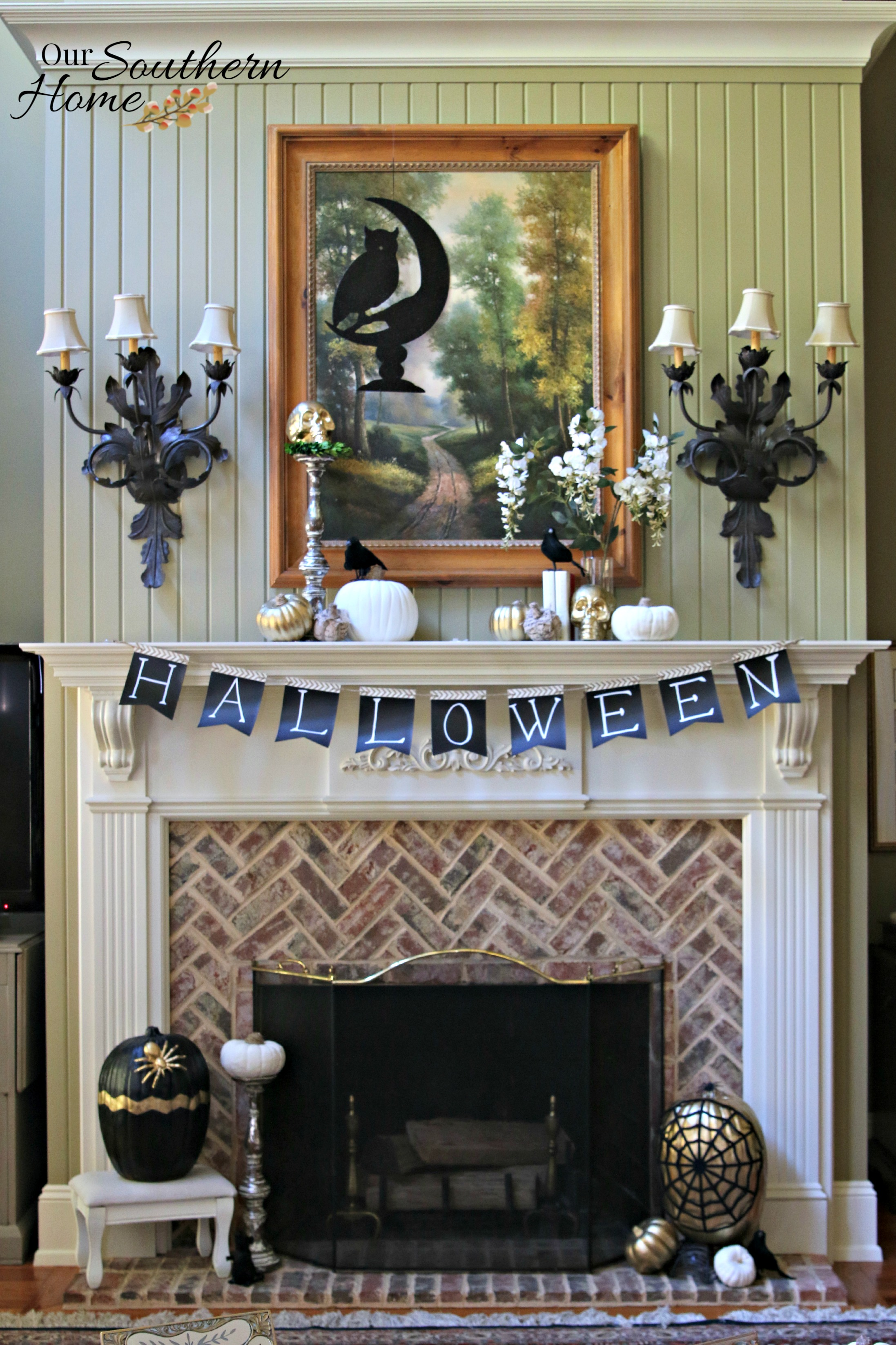 Holiday decor challenge halloween mantel our southern home for Southern home decor